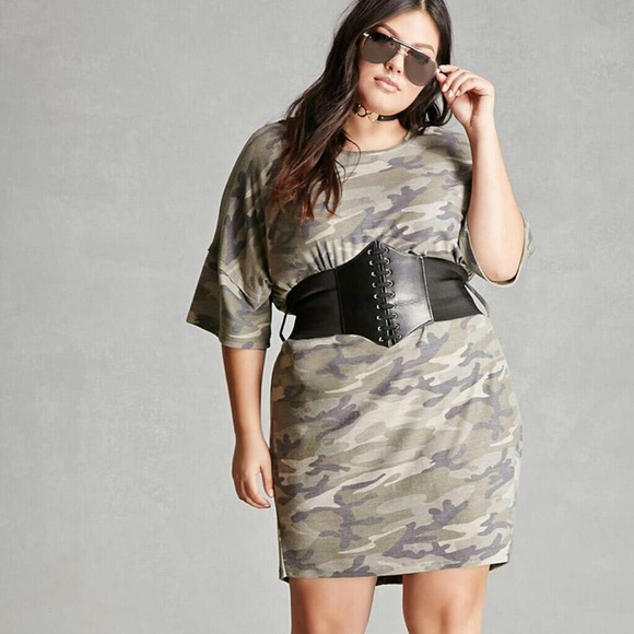 91a26a6b2fb9 glam Dresses | Nwt Camo T Shirt Dress With Corset Belt | Poshmark